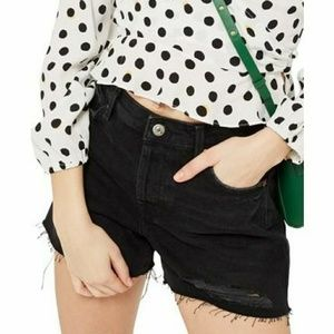 Topshop Moto Ashley Distressed Black Shorts Plus